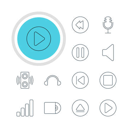 Vector Illustration Of 12 Music Icons. Editable Pack Of Mike, Compact Disk, Rewind And Other Elements. Illustration