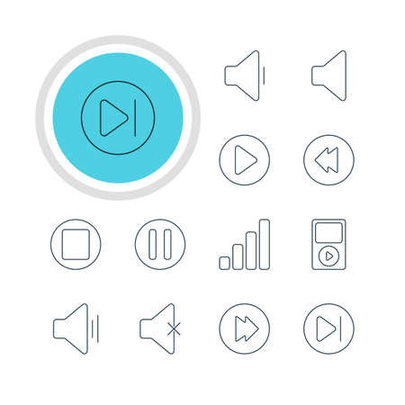 Vector Illustration Of 12 Music Icons. Editable Pack Of Decrease Sound, Audio, Soundless And Other Elements.