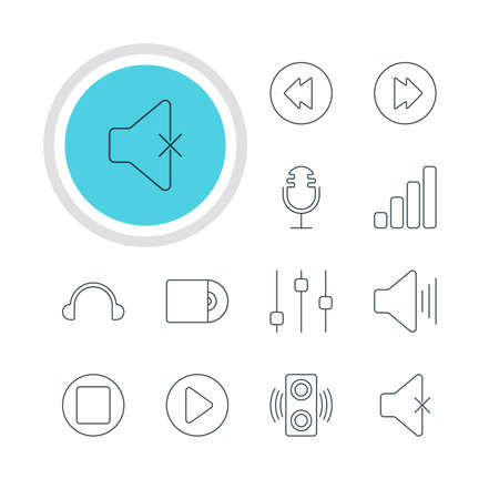 Vector Illustration Of 12 Music Icons. Editable Pack Of Amplifier, Reversing, Soundless And Other Elements. Illustration