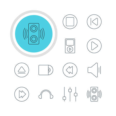 Vector Illustration Of 12 Melody Icons. Editable Pack Of Stabilizer, Advanced, Reversing And Other Elements.