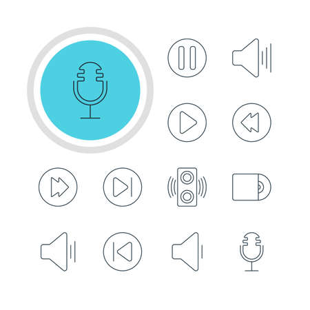 subsequent: Vector Illustration Of 12 Music Icons. Editable Pack Of Decrease Sound, Preceding, Advanced And Other Elements.
