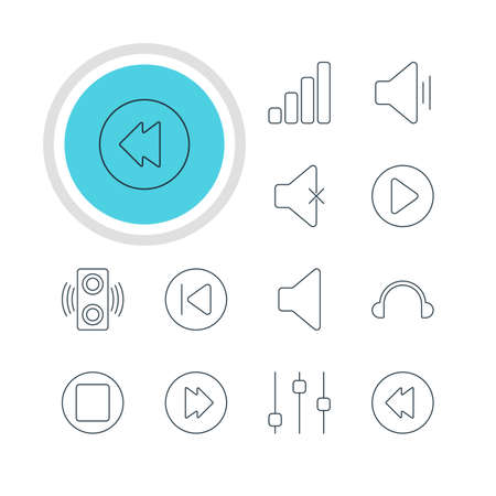 Vector Illustration Of 12 Melody Icons. Editable Pack Of Stabilizer, Start, Reversing And Other Elements. Illustration
