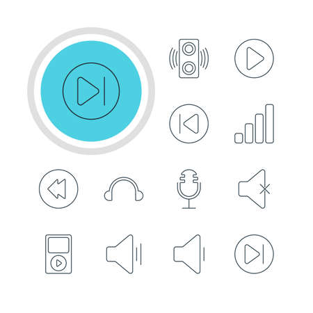 Vector Illustration Of 12 Music Icons. Editable Pack Of Acoustic, Earphone, Audio And Other Elements.