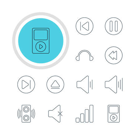 subsequent: Vector Illustration Of 12 Melody Icons. Editable Pack Of Subsequent, Volume Up, Soundless And Other Elements.