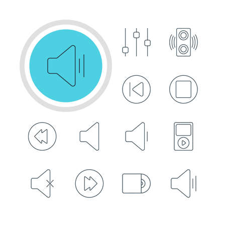 Vector Illustration Of 12 Melody Icons. Editable Pack Of Reversing, Decrease Sound, Amplifier And Other Elements.