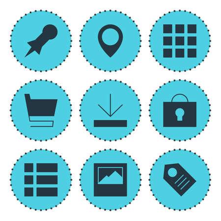 Illustration of 9 online icons. Ilustração