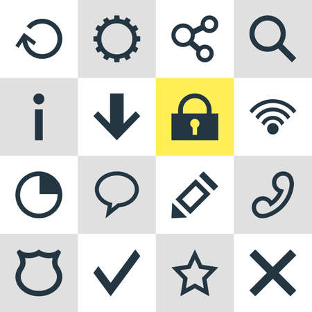 Illustration of 16 user icons. Vektorové ilustrace