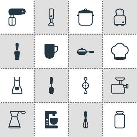 Illustration of 16 cooking icons. Illustration