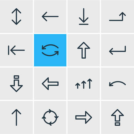 Illustration of 16 sign icons.