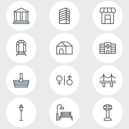 Illustration of 12 city icons. Ilustração
