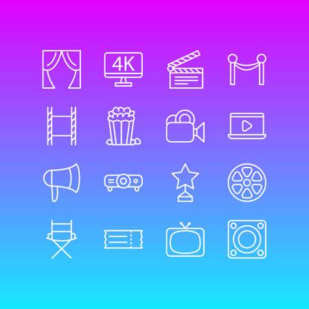 Illustration of 16 movie icons.