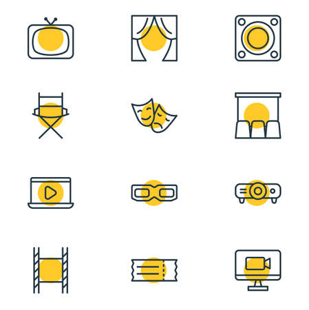 Illustration of 12 movie icons. Illustration