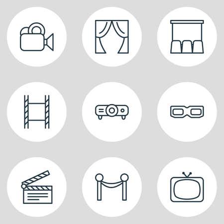 Illustration of 9 movie icons. Illustration
