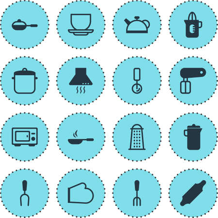 Illustration of 16 cooking icons. Illusztráció
