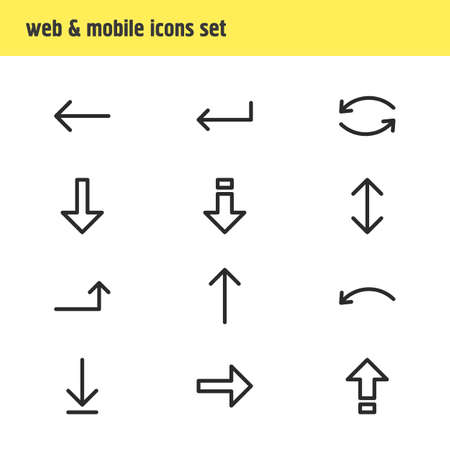 Illustration of 12 arrows icons. Illustration