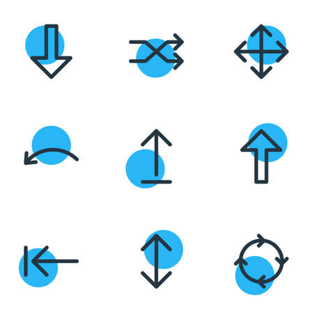 Illustration of 9 arrows icons.