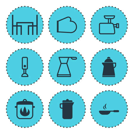 prepare: Vector Illustration Of 9 Cooking Icons. Editable Pack Of Dinner Table, Stewpot, Tea And Other Elements.