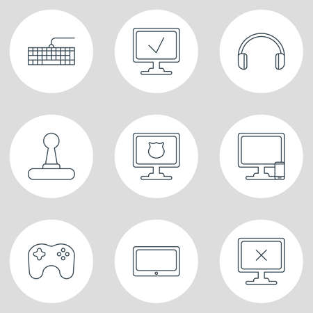 Vector Illustration Of 9 Computer Icons. Editable Pack Of Phone Near Computer, Qwerty Board, Headsets And Other Elements.