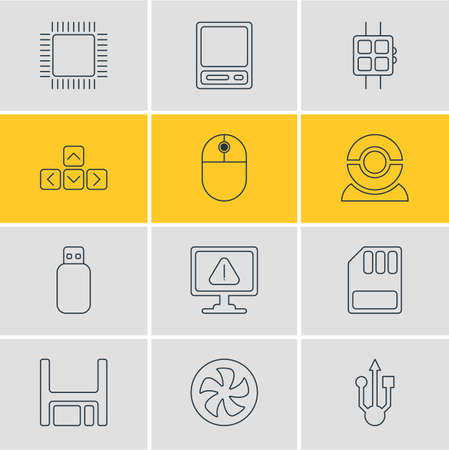 microprocessor: Vector Illustration Of 12 Notebook Icons. Editable Pack Of Warning, Keypad, Cursor Manipulator And Other Elements.