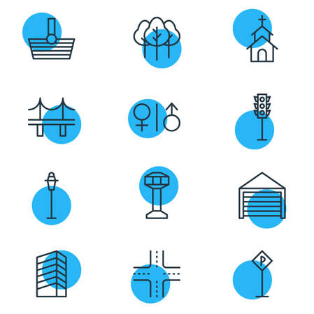 regulate: Vector Illustration Of 12 Public Icons. Editable Pack Of Parking, Toilet, Building And Other Elements.