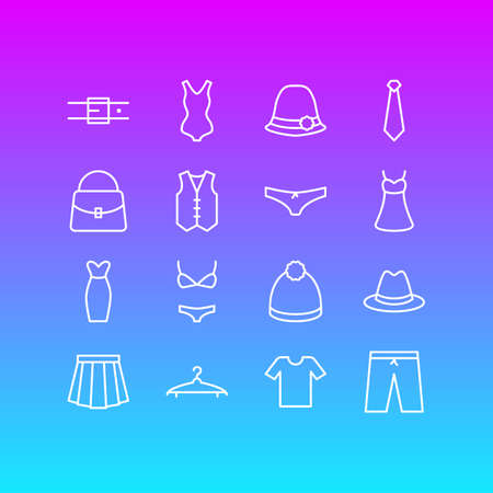 Vector Illustration Of 16 Garment Icons. Editable Pack Of Strap, Fedora, Swimsuit And Other Elements.