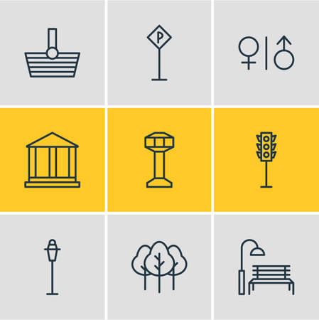 city lights: Vector Illustration Of 9 Urban Icons. Editable Pack Of Basket, Courthouse, Bench And Other Elements. Illustration