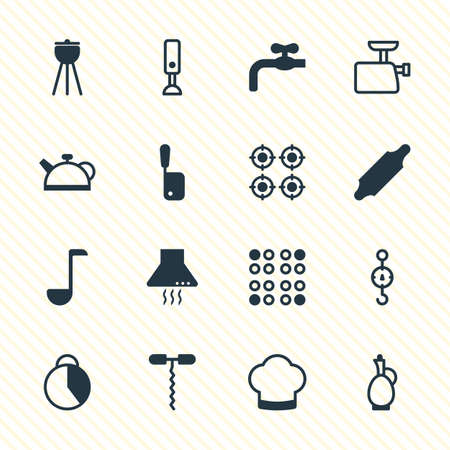 Vector Illustration Of 16 Kitchenware Icons. Editable Pack Of Barbecue, Steelyard, Bakery Roller And Other Elements.