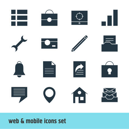 photographing: Vector Illustration Of 16 Web Icons. Editable Pack Of Chat, Target Scope, Notification And Other Elements.