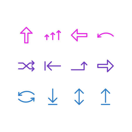 Vector Illustration Of 12 Arrows Icons. Editable Pack Of Submit , Randomize, Undo Elements. Illustration