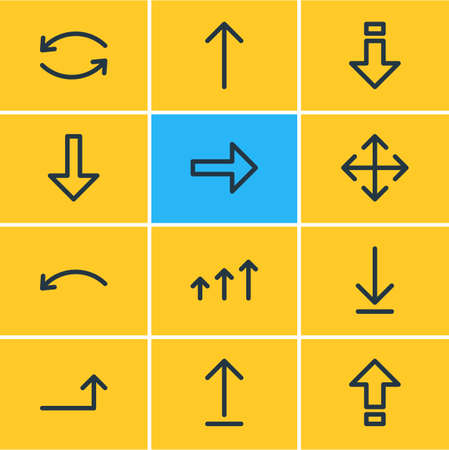 resize: Vector Illustration Of 12 Sign Icons. Editable Pack Of Undo, Download, Raise And Other Elements.