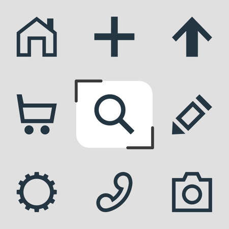 telephonic: Vector Illustration Of 9 Interface Icons. Editable Pack Of Wheelbarrow, Handset, Plus Elements.