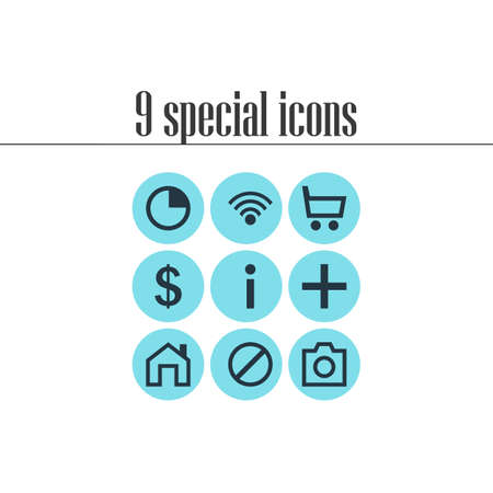 Vector Illustration Of 9 User Icons. Editable Pack Of Money Making, Info, Mainpage And Other Elements.
