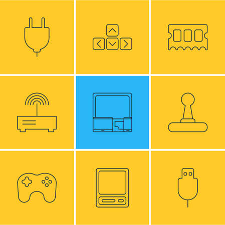 Vector Illustration Of 9 Notebook Icons. Editable Pack Of Pda, Keypad, Gamepad And Other Elements.