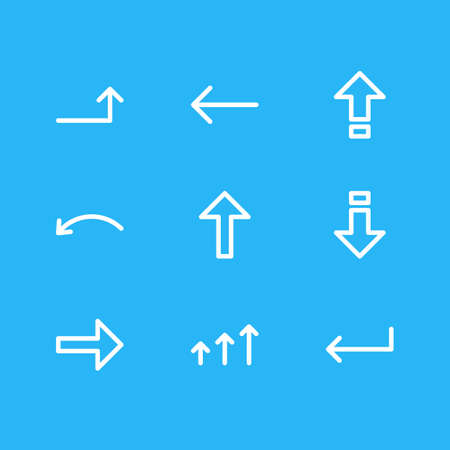 Vector Illustration Of 9 Direction Icons. Editable Pack Of Down, Right, Increase And Other Elements.