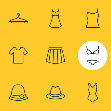 Vector Illustration Of 9 Clothes Icons. Editable Pack Of Singlet, Swimsuit, Apparel And Other Elements.