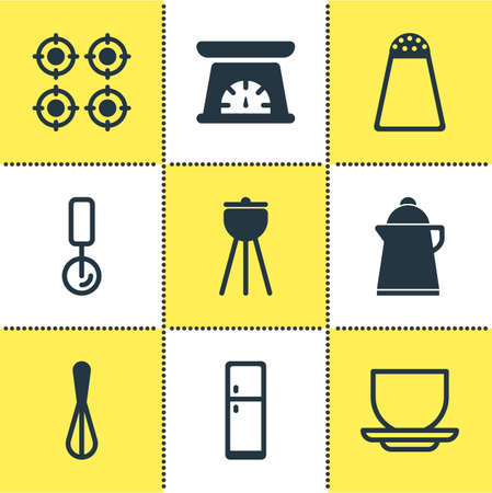 housewares: Vector Illustration Of 9 Cooking Icons. Editable Pack Of Coffee Cup, Pepper Container, Tea And Other Elements.