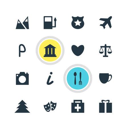 Vector Illustration Of 16 Travel Icons. Editable Pack Of Landscape, Map Information, Coffee Shop Elements. Illustration
