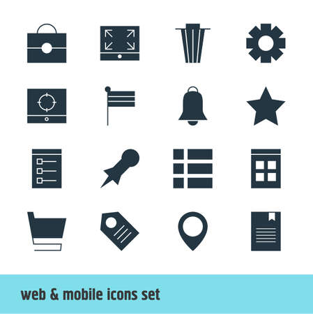 market place: Vector Illustration Of 16 Internet Icons. Editable Pack Of List, Bookmark, Coupon And Other Elements.