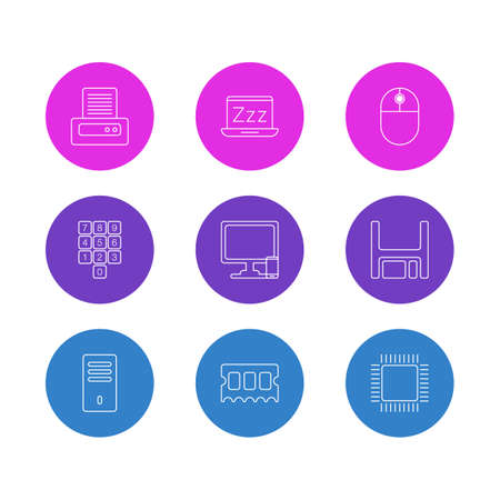 Illustration vectorielle de 9 icônes de cahier. Pack modifiable du clavier numérique, ordinateur portable, téléphone près de l'ordinateur et d'autres éléments.