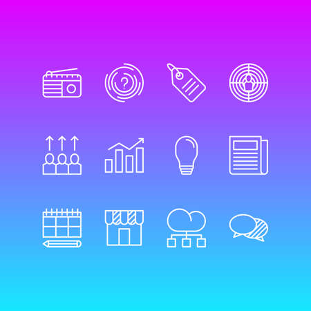 solve: Vector Illustration Of 12 Marketing Icons. Editable Pack Of Aiming, Discussing, Advancement And Other Elements. Illustration