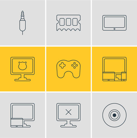 gamepad: Vector Illustration Of 9 Notebook Icons. Editable Pack Of Gadgets, Gamepad, Objective And Other Elements. Illustration