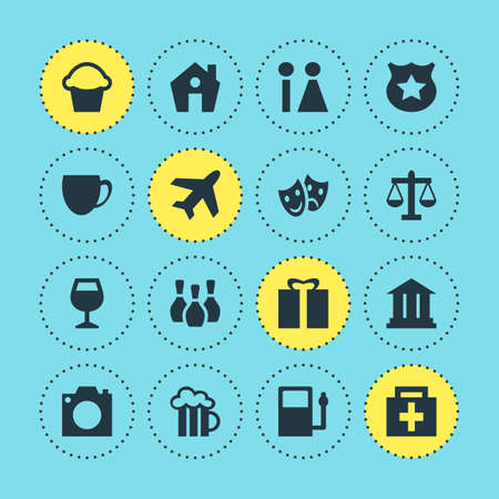 Vector Illustration Of 16 Map Icons. Editable Pack Of Cop, Wineglass, Home And Other Elements.
