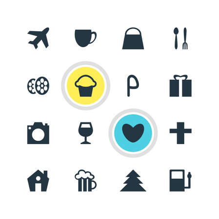 Vector Illustration Of 16 Check-In Icons. Editable Pack Of Handbag, Coffee Shop, Heart Elements.
