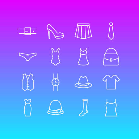 Vector Illustration Of 16 Clothes Icons. Editable Pack Of Sandal, Singlet, Sarafan Elements.