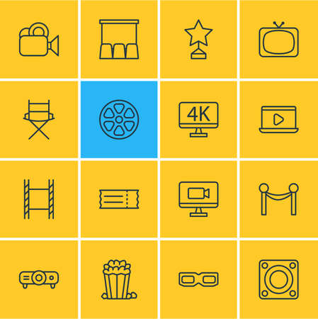champ: Vector Illustration Of 16 Cinema Icons. Editable Pack Of Shooting Seat, Reward, Resolution And Other Elements.