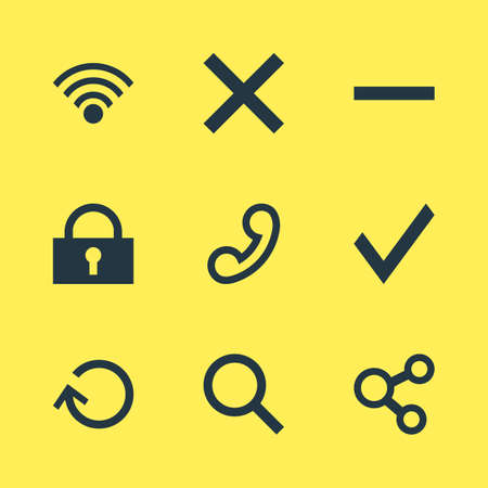 refuse: Vector Illustration Of 9 Member Icons. Editable Pack Of Confirm, Cordless Connection, Magnifier And Other Elements.