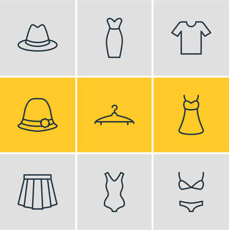 Vector Illustration Of 9 Clothes Icons. Editable Pack Of Sarafan, Swimwear, Apparel And Other Elements.