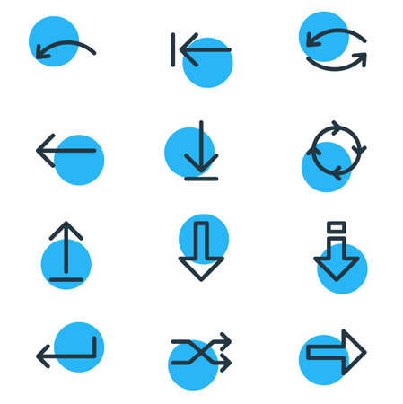 Vector Illustration Of 12 Direction Icons. Editable Pack Of Undo, Submit, Down And Other Elements.