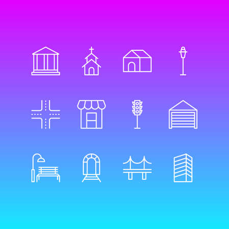 Vector Illustration Of 12 City Icons. Editable Pack Of Parking, Semaphore, Skyscraper And Other Elements. Illustration