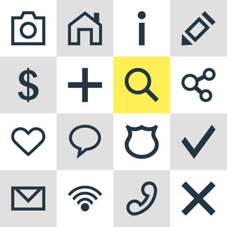 Vector Illustration Of 16 User Icons. Editable Pack Of Cordless Connection, Mainpage, Handset Elements. 向量圖像